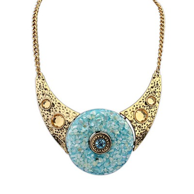 Writing Light Blue Round Shape Gemstone Decorated Design Alloy Bib Necklaces