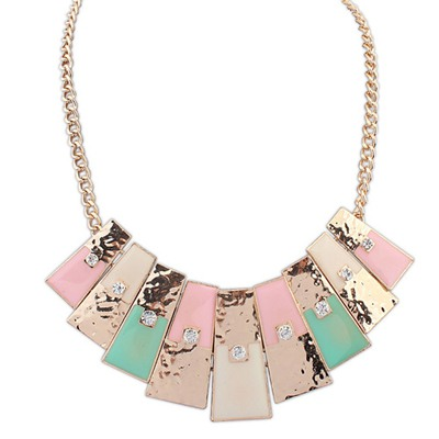 Military Pink Rectangle Pendant Simple Design Alloy Bib Necklaces
