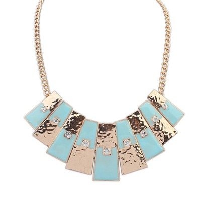 Rebel Light Blue Rectangle Pendant Simple Design Alloy Bib Necklaces