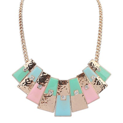 Shopping Multicolor Rectangle Pendant Simple Design Alloy Bib Necklaces