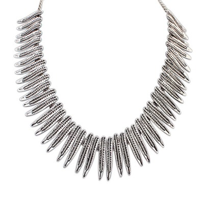 African Antique Silver Tassels Decorated Simple Design Alloy Bib Necklaces