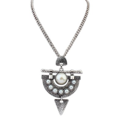 Statement Antique Silver Pearl Decorated Design Alloy Bib Necklaces