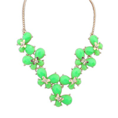 Milly Green Butterfly Decorated Simple Design Alloy Bib Necklaces