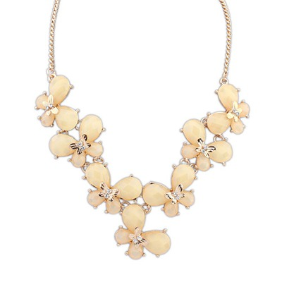 Turkish Beige Butterfly Decorated Simple Design Alloy Bib Necklaces