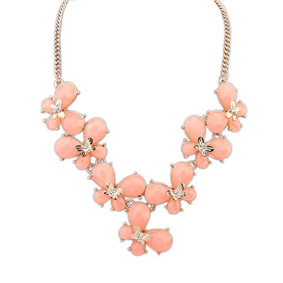 Flip Pink Butterfly Decorated Simple Design Alloy Bib Necklaces