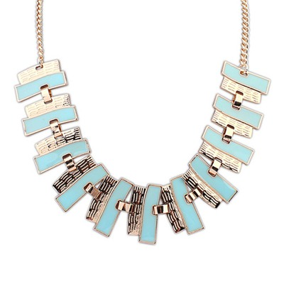 Beige Light Blue Geometric Shape Pendant Design Alloy Bib Necklaces