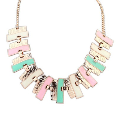 2012 Multicolor Geometric Shape Pendant Design Alloy Bib Necklaces