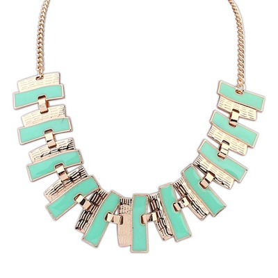 Flamenco Light Green Geometric Shape Pendant Design Alloy Bib Necklaces