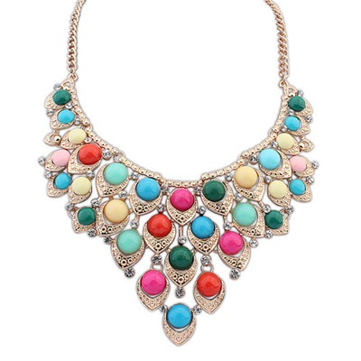 Glueless Multicolor Multilayer Gemstone Decorated Design Alloy Bib Necklaces
