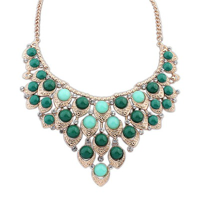 Correspond Green Multilayer Gemstone Decorated Design Alloy Bib Necklaces