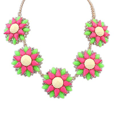 Authentic Beige Five Flowers Decorated Design Alloy Bib Necklaces