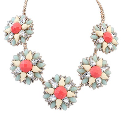 Liquid Red Five Flowers Decorated Design Alloy Bib Necklaces