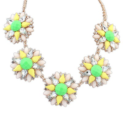 Metallic Green Five Flowers Decorated Design Alloy Bib Necklaces