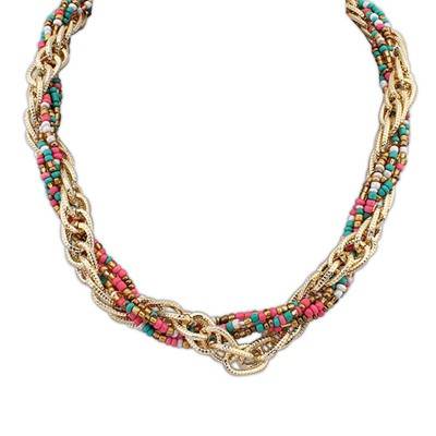 Cheerleadi Multicolor Weave Beads And Metal Twist Design Alloy Chains