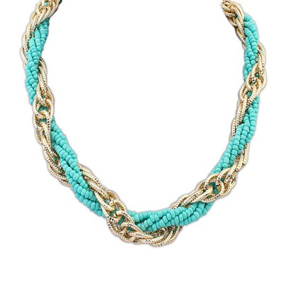 Masculine Light Blue Weave Beads And Metal Twist Design Alloy Chains