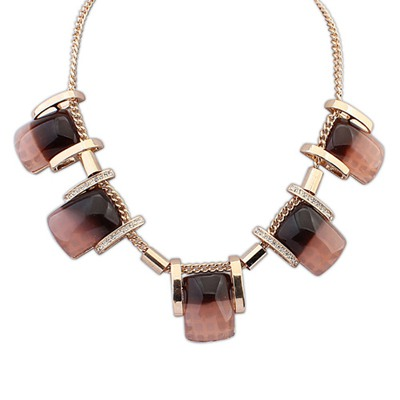 Splendid Coffee Five Gemstone Decorated Design Alloy Bib Necklaces