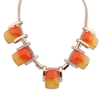 Writing Orange Five Gemstone Decorated Design Alloy Bib Necklaces