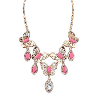 Rave Plum Red Hollow Out Butterfly Decorated Design Alloy Bib Necklaces