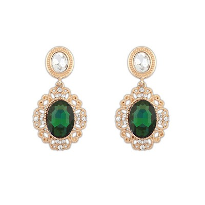 Infinity Green Hollow Out Gemstone Design Alloy Korean Earrings