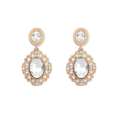 Airmail White Hollow Out Gemstone Design Alloy Korean Earrings