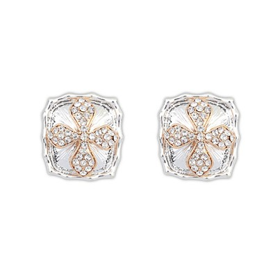 Christenin Silver Color Square Shape Cross Design Alloy Stud Earrings