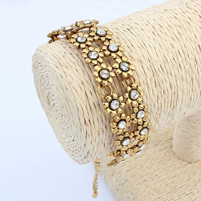 Teen Antique Gold Double Layers Wintersweet Flower Design Alloy Korean Fashion Bracelet