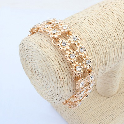 Tanzanite Kc Gold Double Layers Wintersweet Flower Design Alloy Korean Fashion Bracelet