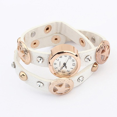 Masonic White Star&Diamond Decorated Design Alloy Fashion Watches