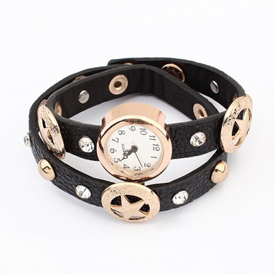 Slim Black Star&Diamond Decorated Design Alloy Fashion Watches