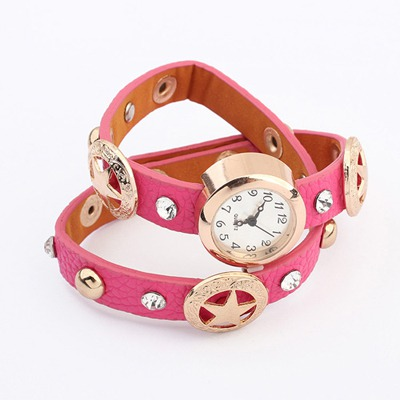 Unique Plum Red Star&Diamond Decorated Design Alloy Fashion Watches