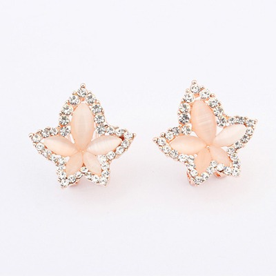 Luxury White Maple Leaf Shape Simple Design Alloy Stud Earrings