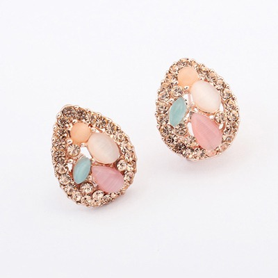Royal Multicolor Water Drop Shape Design Alloy Stud Earrings