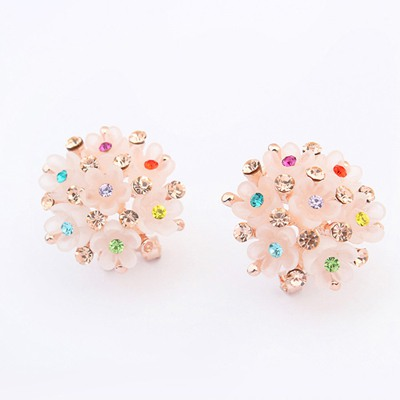 Letterhead Multicolor Sparkly Diamond Flower Shape Design Alloy Stud Earrings
