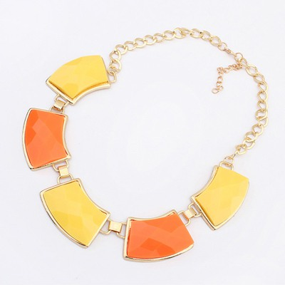 New Orange&Yellow Geometric Shape Gemstone Decorate Design Alloy Bib Necklaces