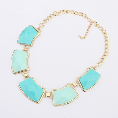 Pregnancy Light Blue Geometric Shape Gemstone Decorate Design Alloy Bib Necklaces