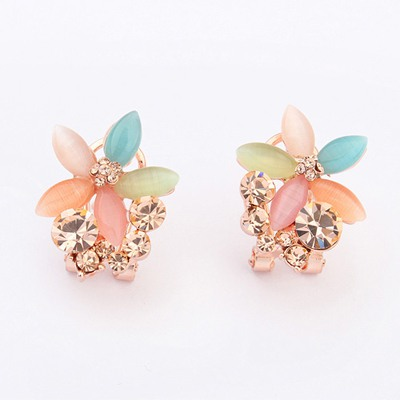 Fused Multicolor Five Petal Flower Shape Gemstone Decorated Alloy Stud Earrings