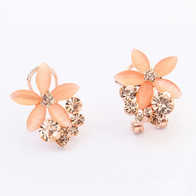 New Orange Five Petal Flower Shape Gemstone Decorated Alloy Stud Earrings