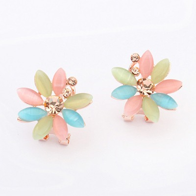 Energie Gold Color Flower Shape Simple Design Alloy Stud Earrings