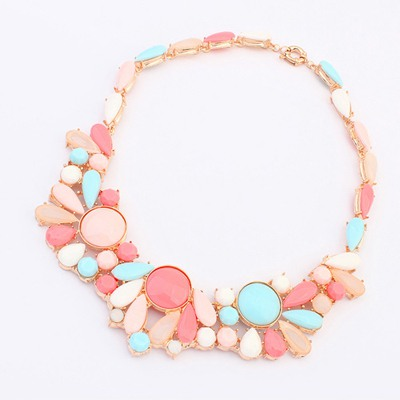 Promise Pink Colorful Gemstone Fake Collar Design Alloy Bib Necklaces