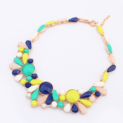 Noble Dark Blue Colorful Gemstone Fake Collar Design