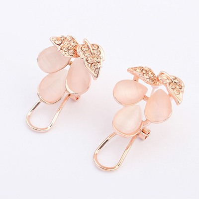 Fake Beige Gemstone Decorated Design Alloy Stud Earrings
