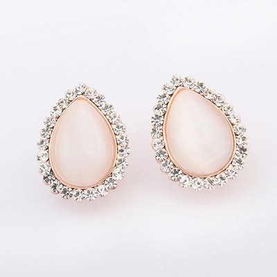 Friendship White Water Drop Shape Design Alloy Stud Earrings