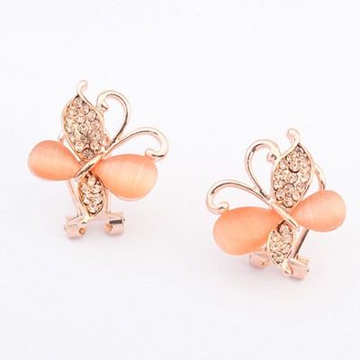 Fabulous Orange Butterfly Shape Elegant Design Alloy Stud Earrings