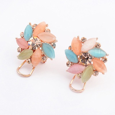 Glam Multicolor Irregular Gemstone Decorated Design Alloy Stud Earrings