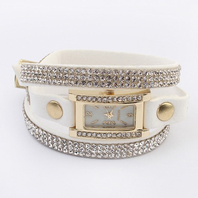 Waxing White Diamond Decorated Multilayer Simple Design PU Leather Ladies Watches