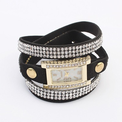 Papyrus Black Diamond Decorated Multilayer Simple Design PU Leather Ladies Watches