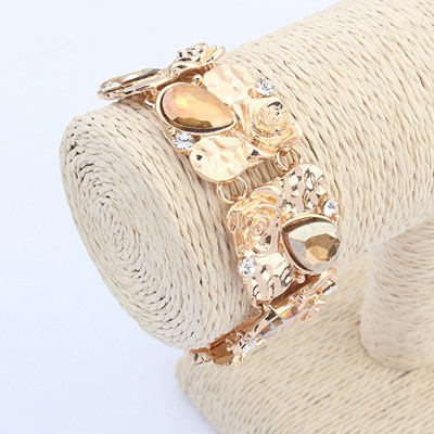 Charming Gold Color Water Drop Shape Gemstone Decorated Wide Design Alloy Korean Fashion Bracelet