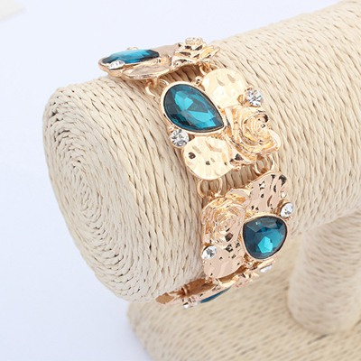 Square Sapphire Water Drop Shape Gemstone Decorated Wide Design Alloy Korean Fashion Bracelet