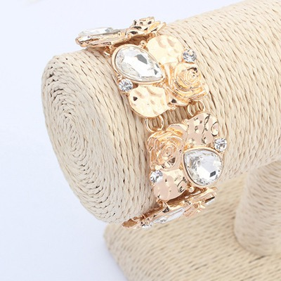 Male White Water Drop Shape Gemstone Decorated Wide Design Alloy Korean Fashion Bracelet