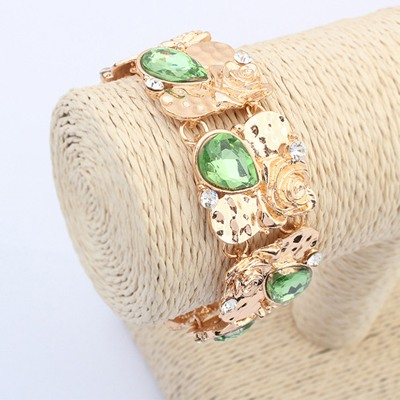 Tall Green Water Drop Shape Gemstone Decorated Wide Design Alloy Korean Fashion Bracelet